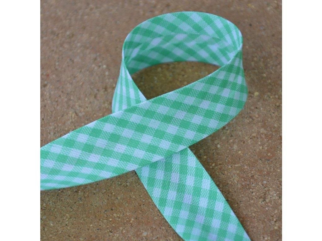 0,5 m šikmý proužek kostičky zelené 18 mm (bavlna/polyester)