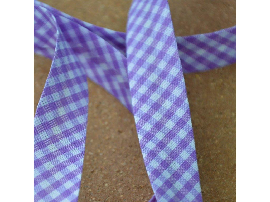 0,5 m kostkovaný šikmý proužek fialovobílý 18 mm (bavlna/polyester)