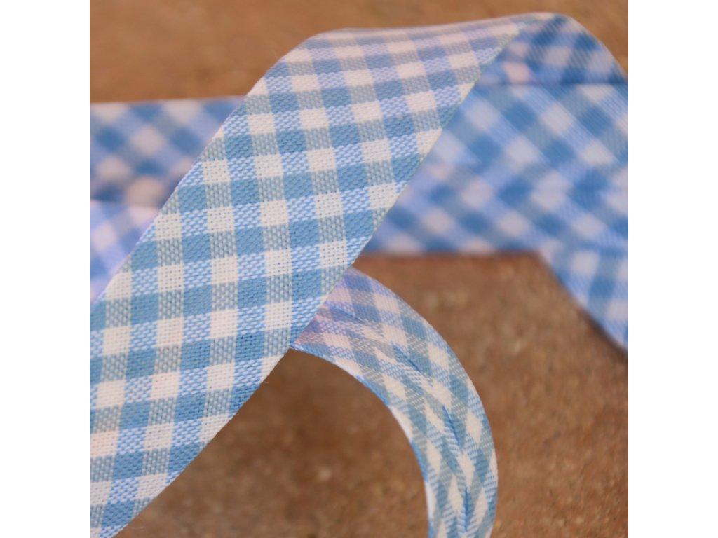 0,5 m šikmý proužek kostičky modrobílé 18 mm (bavlna/polyester)