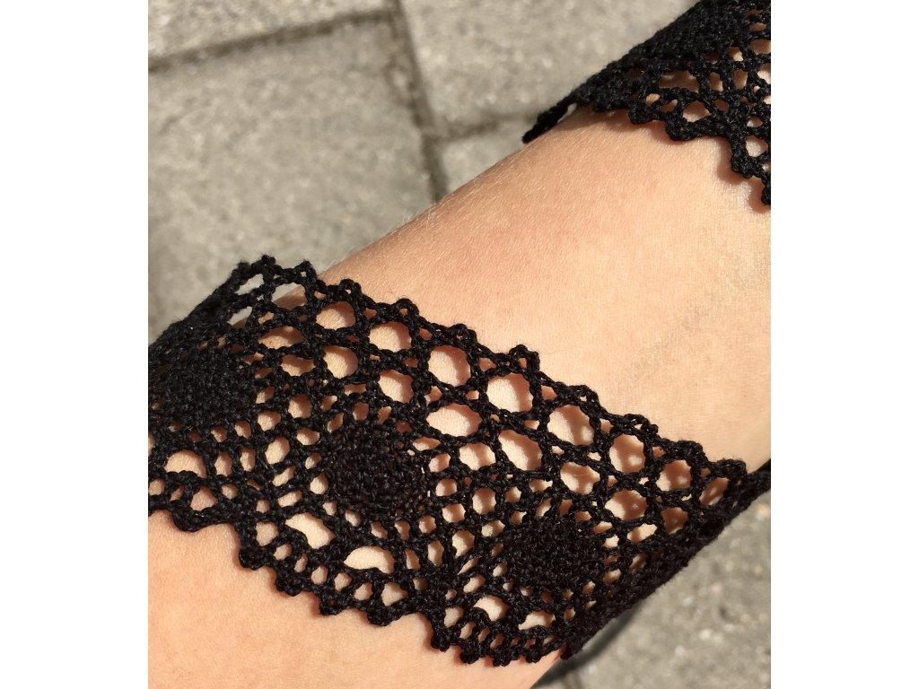 0,5 m bavlněná krajka černá 4,5 cm