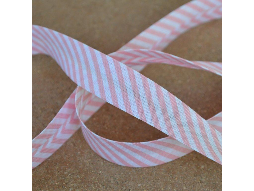 0,5 m šikmý proužek proužky růžovobílé 18 mm (bavlna/polyester)