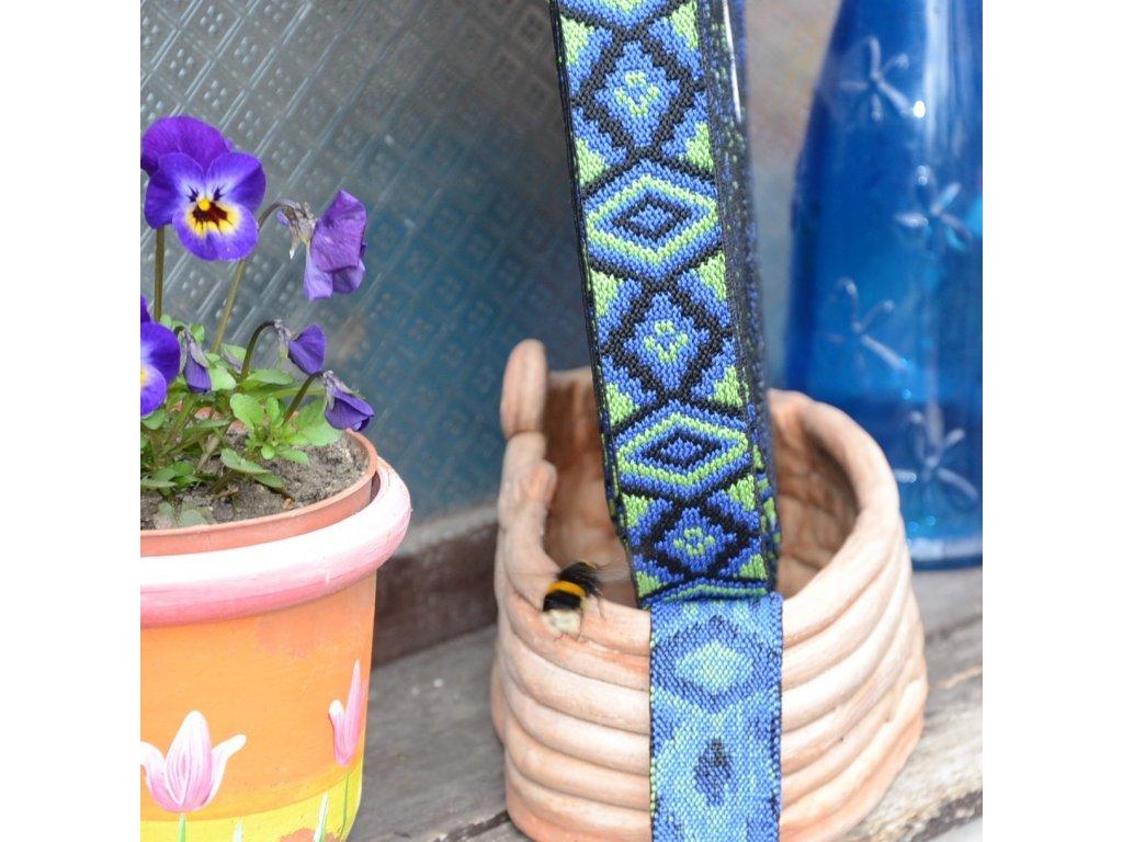 """0,5 m žakárová guma do pasu s etnickým vzorem """"královsky modrá"""" 35 mm"""
