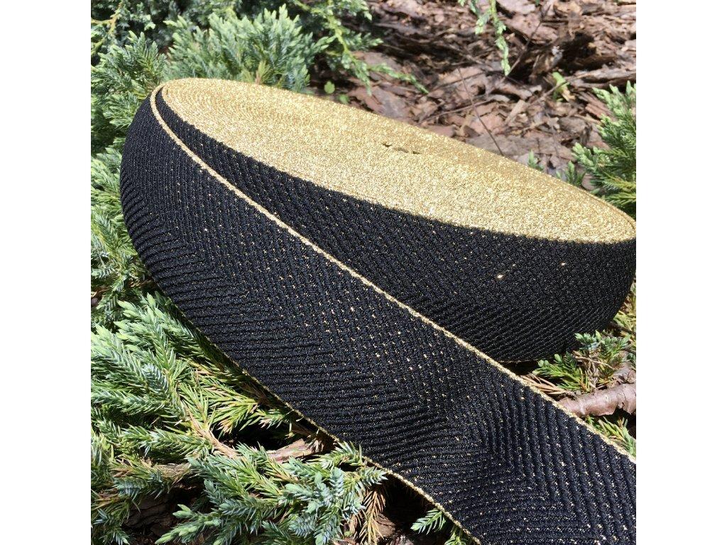 0,5 m guma do pasu stromečkový vzor černá - zlatá 60 mm