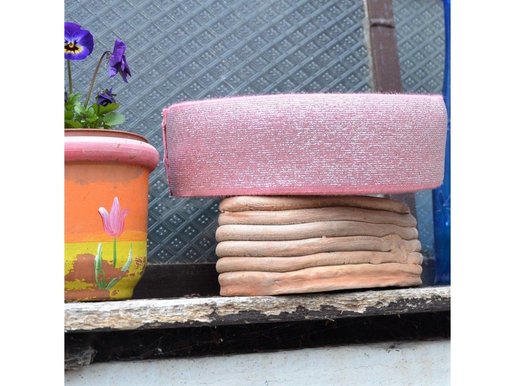 0,5 m oboustranná guma do pasu růžová stříbrně protkaná 7 cm
