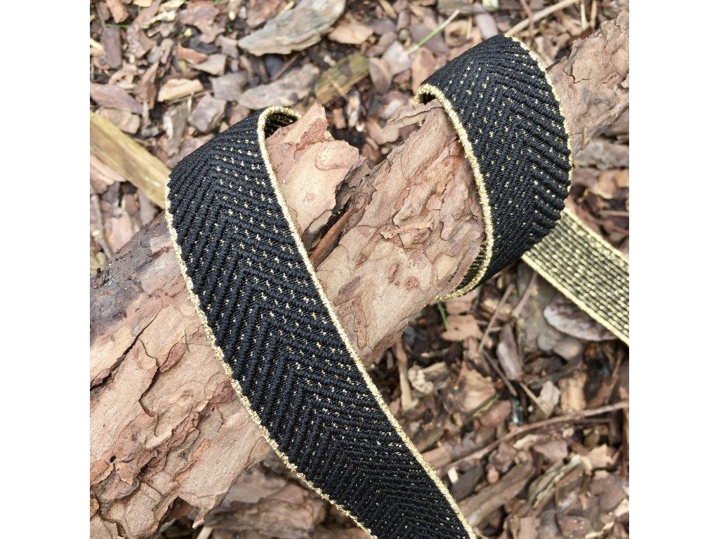 0,5 m guma do pasu stromečkový vzor černá - zlatá 3 cm