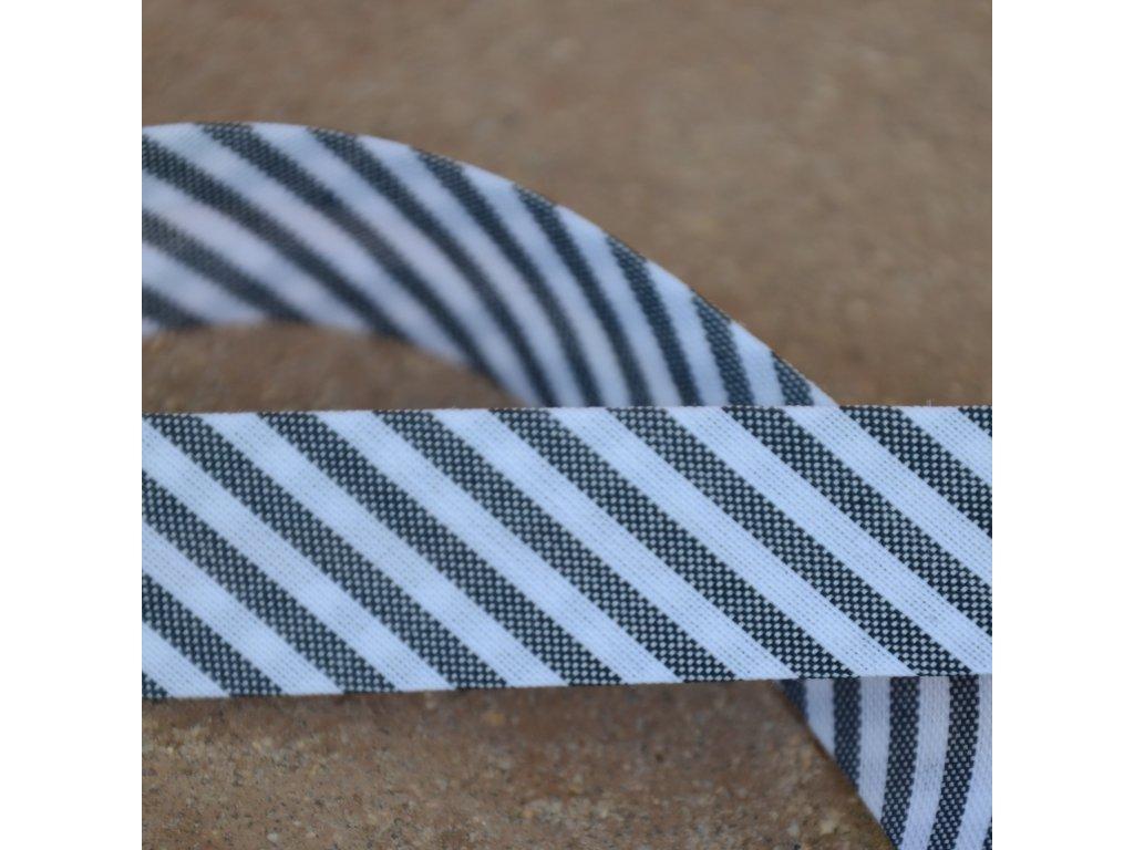 0,5 m šikmý proužek proužky černobílé 18 mm (bavlna/polyester)