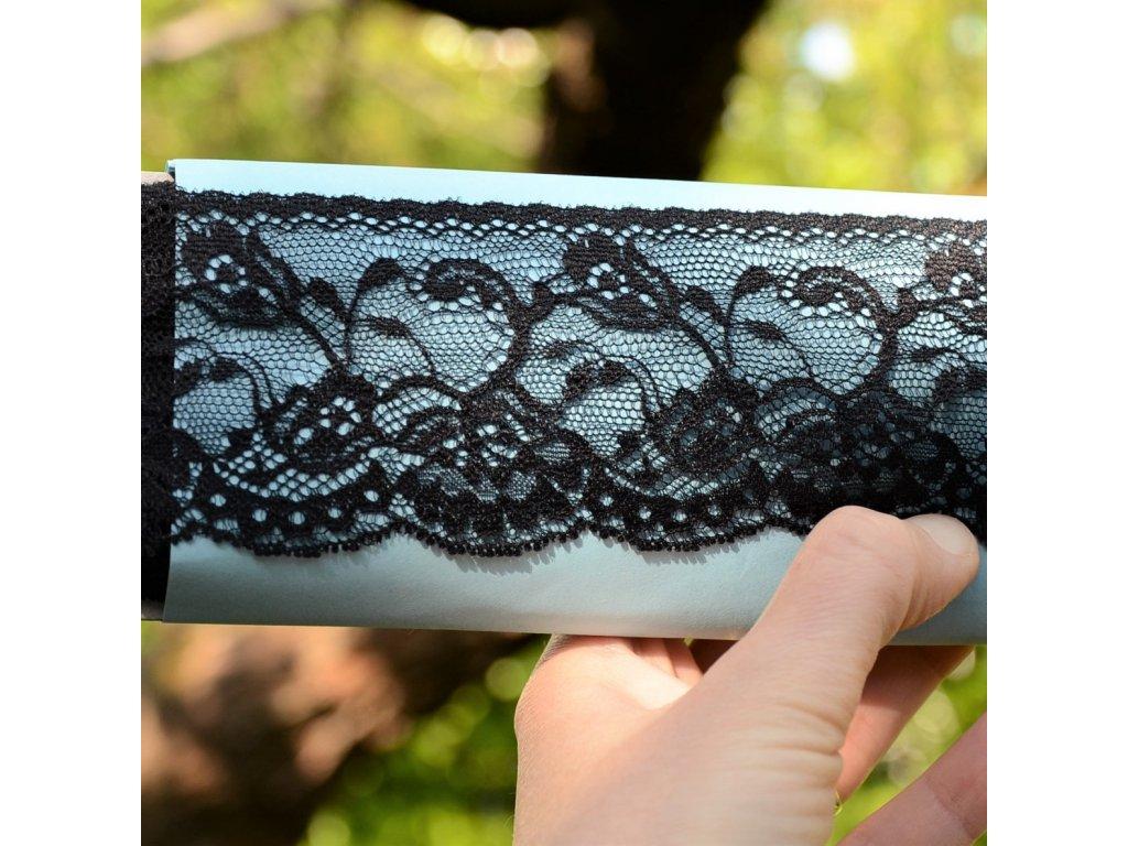0,5 m žakárová krajka černá 6 cm