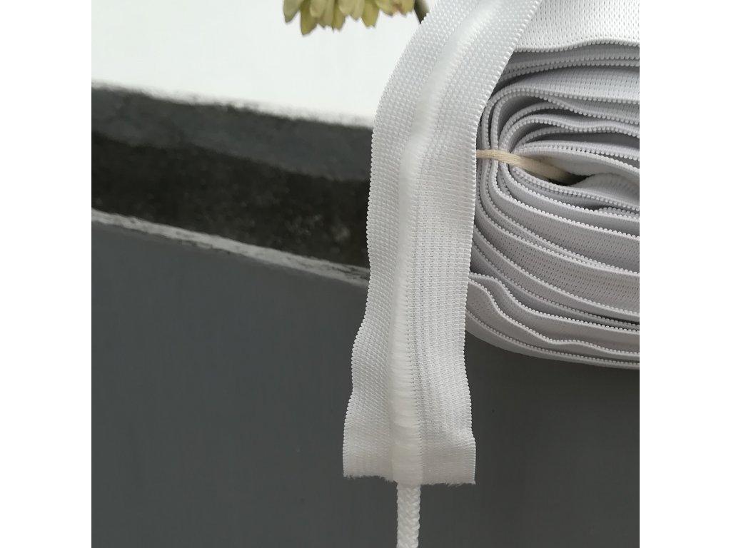 0,5 m galonová pruženka se šňůrkou bílá 4 cm