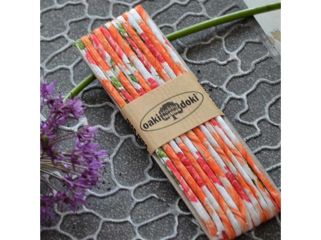 funcord 3 mm 3 metry - oranžové kytičky
