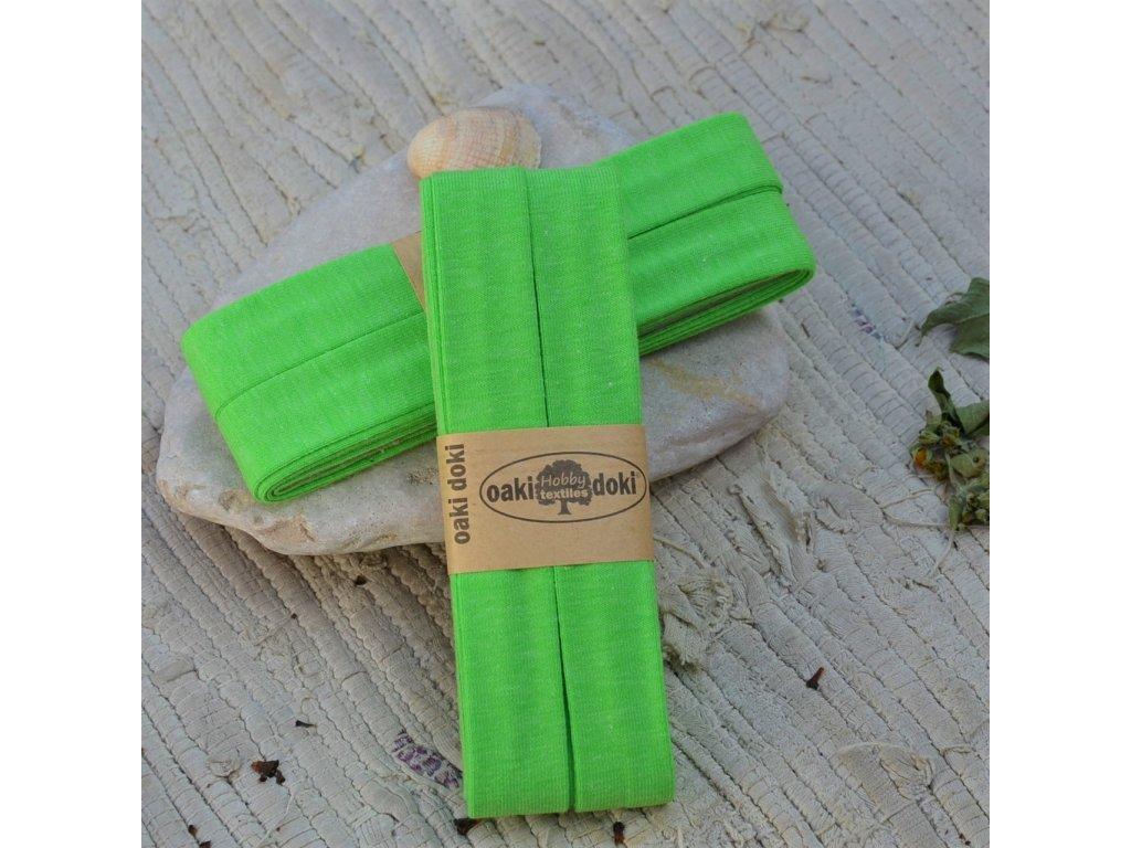 3 m šikmý proužek úplet zářivě zelený 20 mm