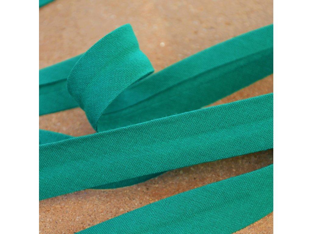 0,5 m šikmý proužek tmavě zelený 18 mm (bavlna/polyester)
