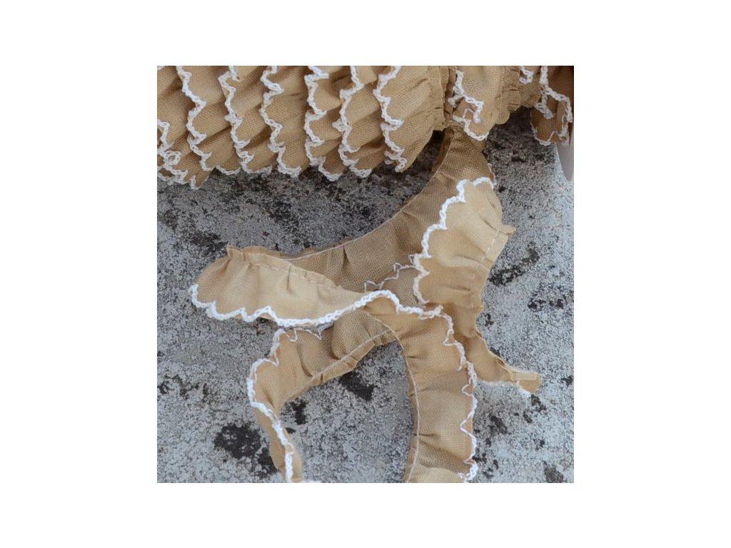 0,5 m řasený dekorovací proužek hnědý 15 mm