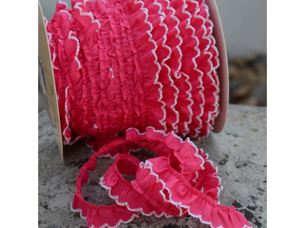 0,5 m řasený dekorovací proužek sytě růžový 15 mm
