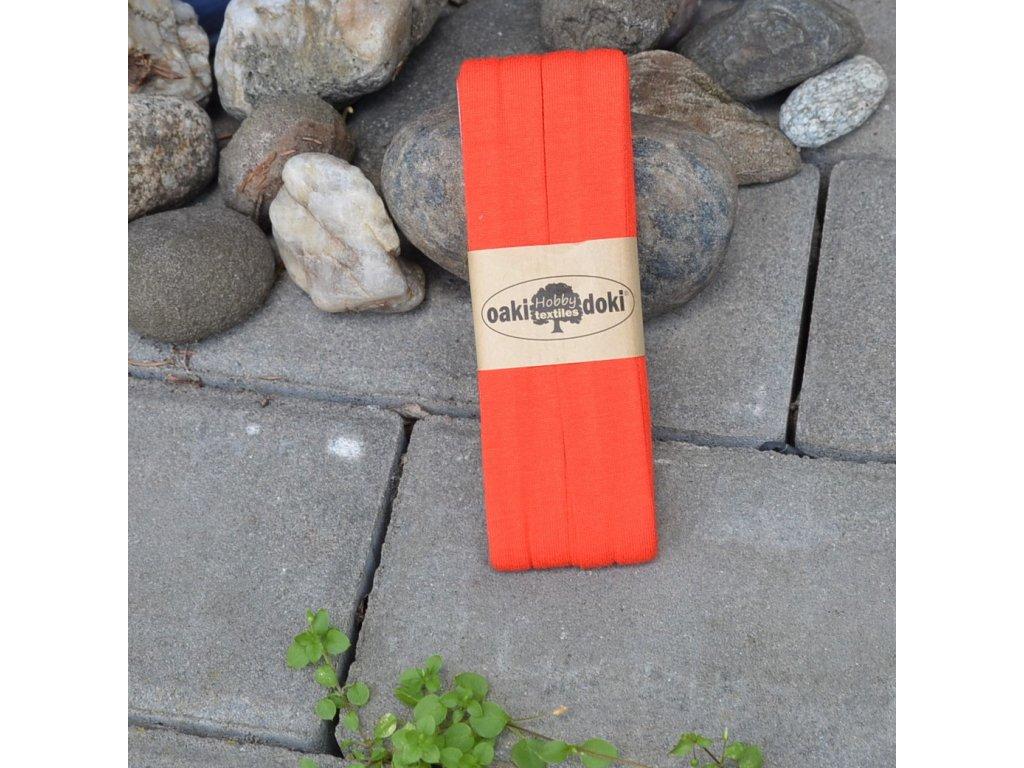 3 m šikmý proužek úplet oranžovočervený 20 mm