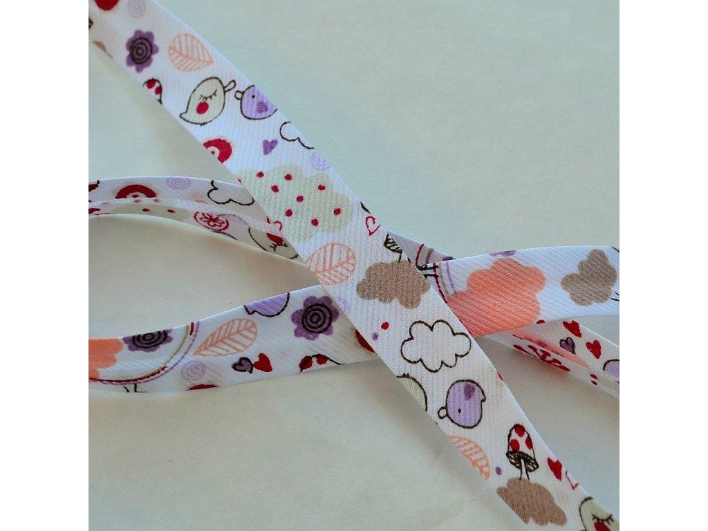 0,5 m šikmý proužek zamilovaní ptáčci fialovorůžoví 18 mm (bavlna/polyester)