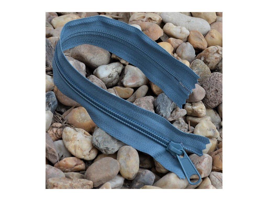 nedělitelný spirálový zip YKK bez aretace - 30 cm, modrošedý