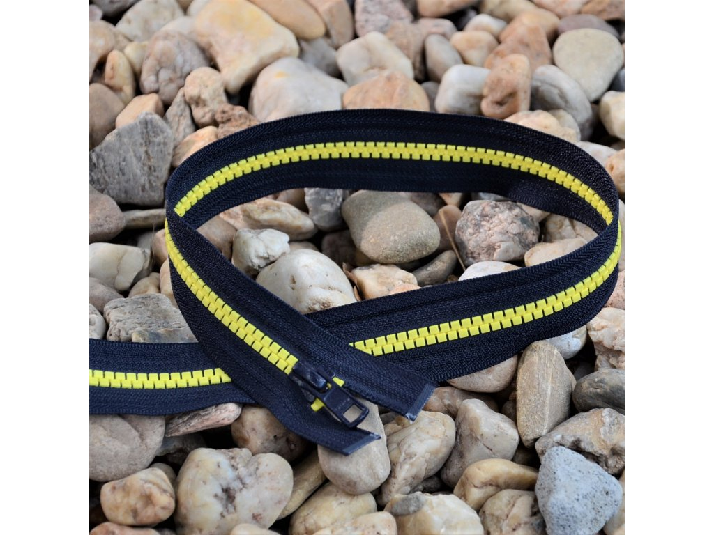 dělitelný kostěný zip YKK - 56 cm, tmavě šedá stuha, žluté zuby