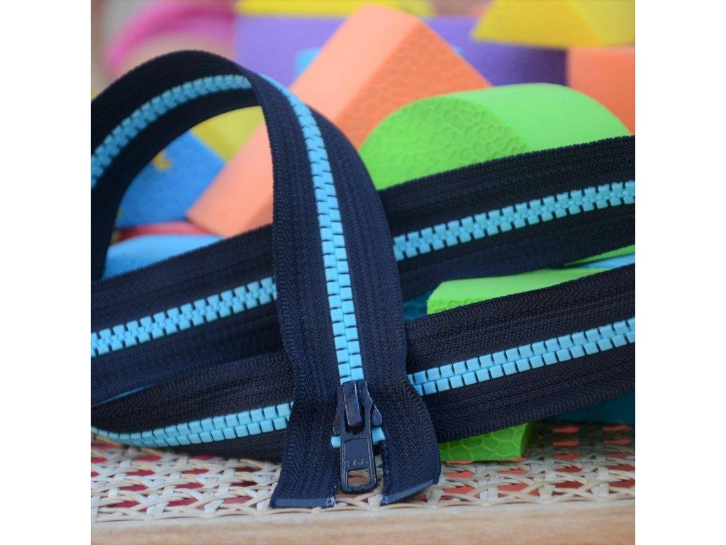 dělitelný kostěný zip YKK - 30 cm, tmavě šedá stuha, modré zuby, FLAT design