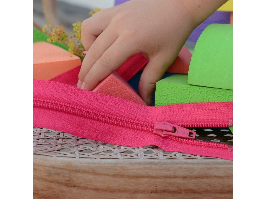 dělitelný spirálový zip YKK - 30 cm, sytě růžový