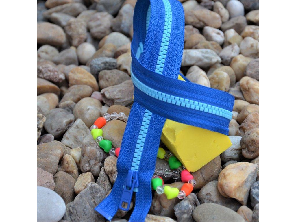 Dělitelný kostěný zip YKK - 66 cm, modrá stuha, světle modré zuby