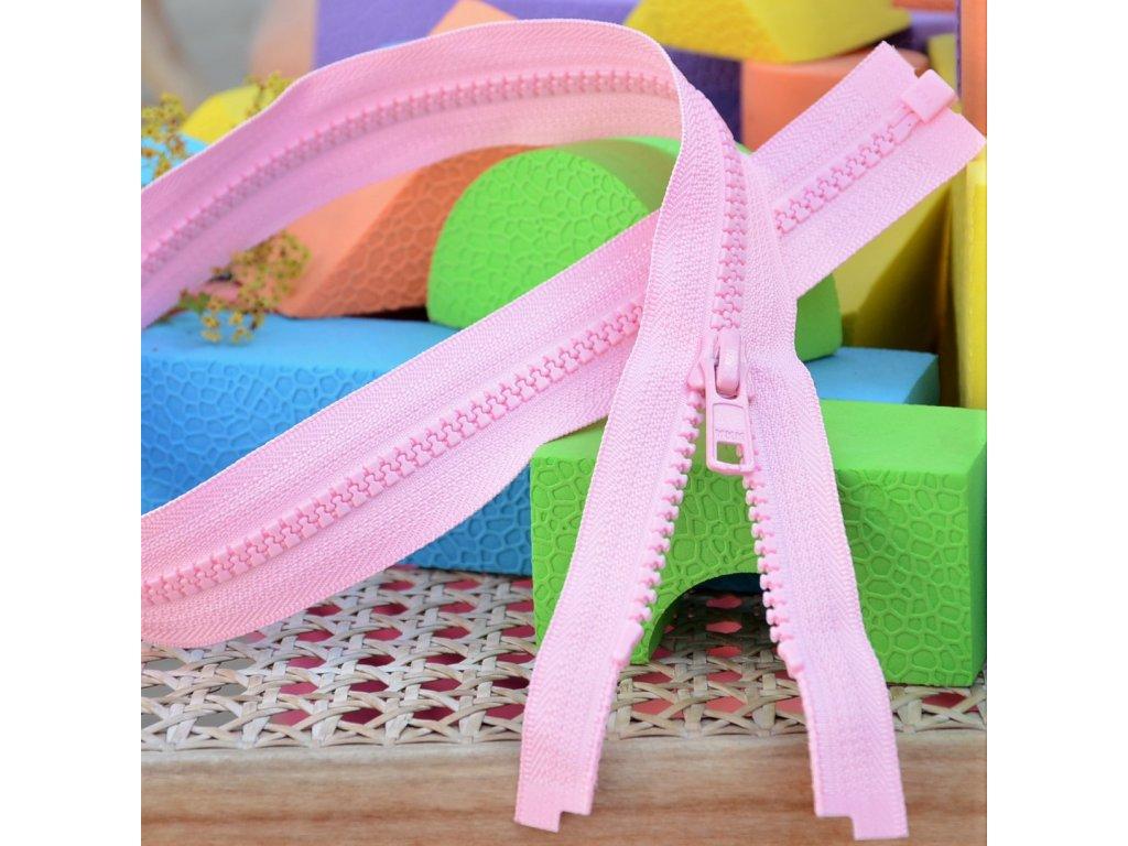 Dělitelný kostěný zip YKK - 70 cm, růžový