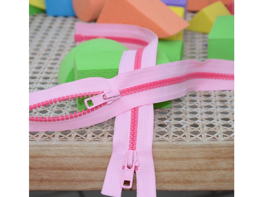 dělitelný kostěný zip YKK - 56 cm, kombinace růžové