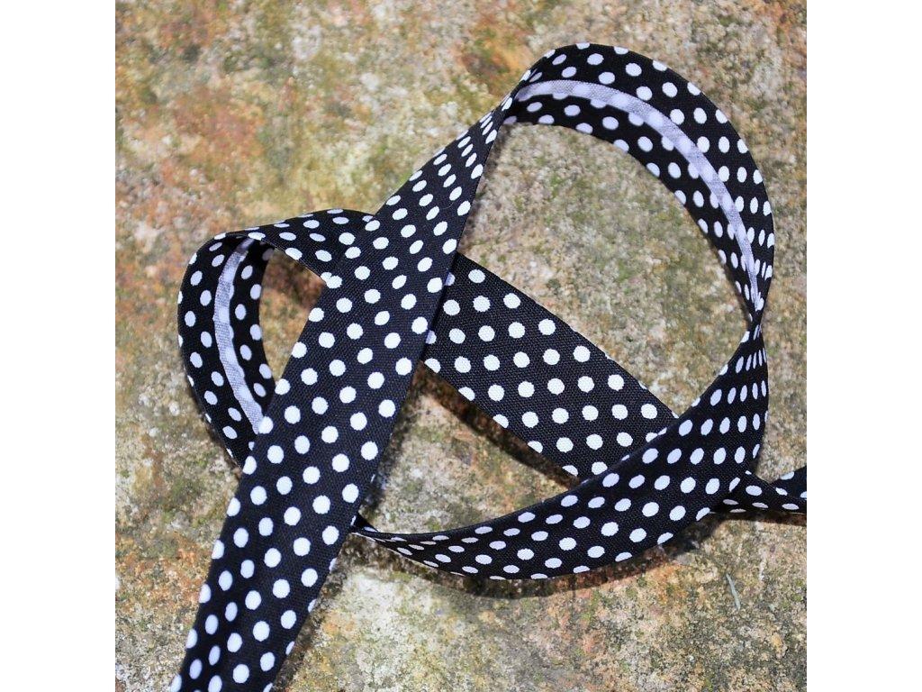0,5 m šikmý proužek černý s puntíky 18 mm (bavlna/polyester)