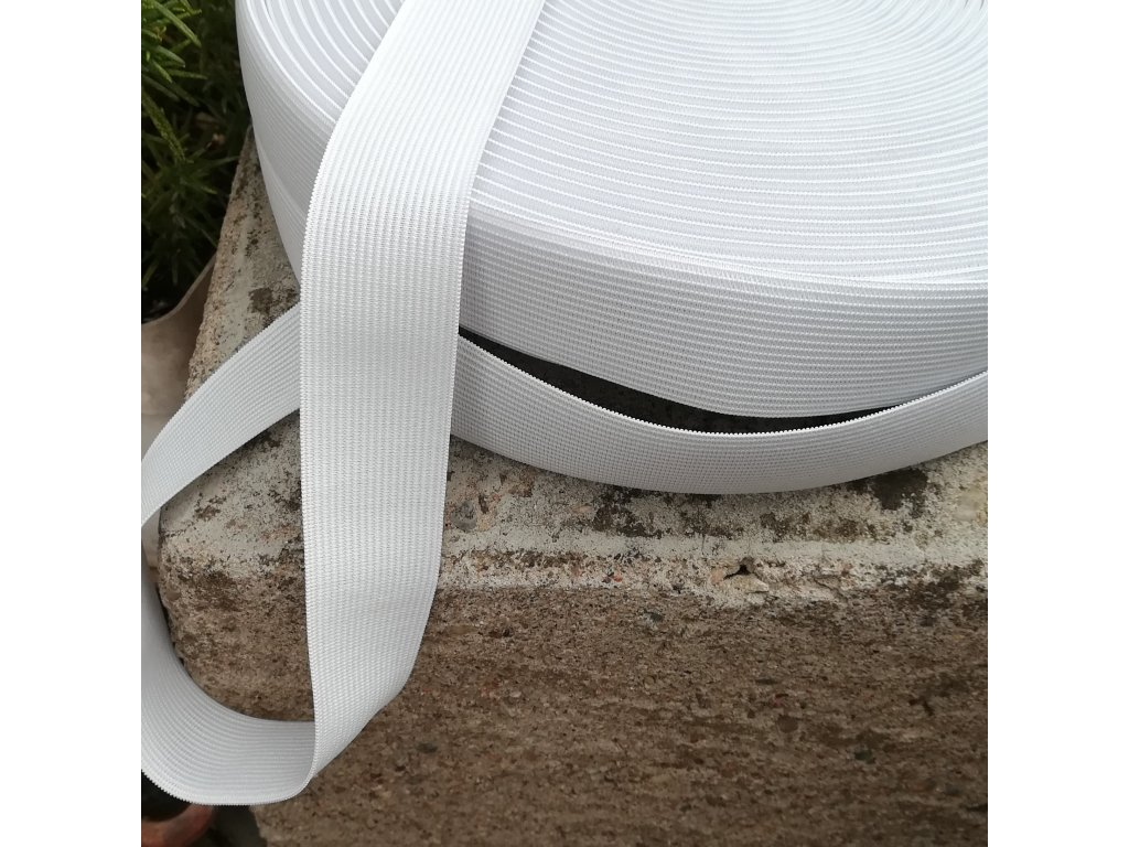 0,5 m galonová pruženka bílá pevnější 3 cm