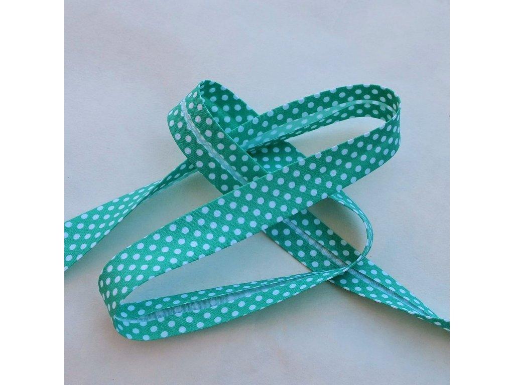 0,5 m šikmý proužek zelený mint s puntíky 18 mm (bavlna/polyester)