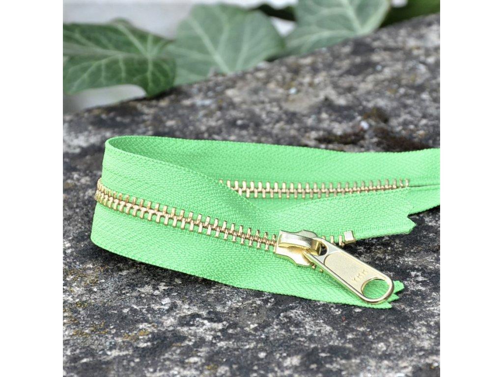 nedělitelný kovový zip YKK - 20 cm, světle zelený