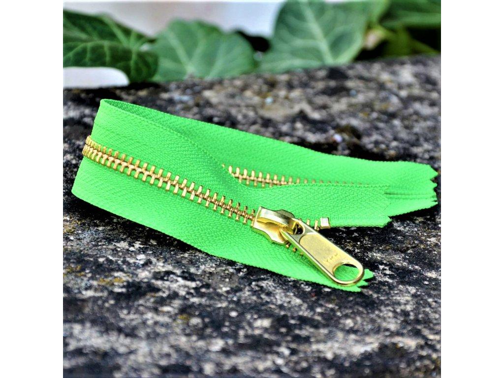 nedělitelný kovový zip YKK - 20 cm, zelený