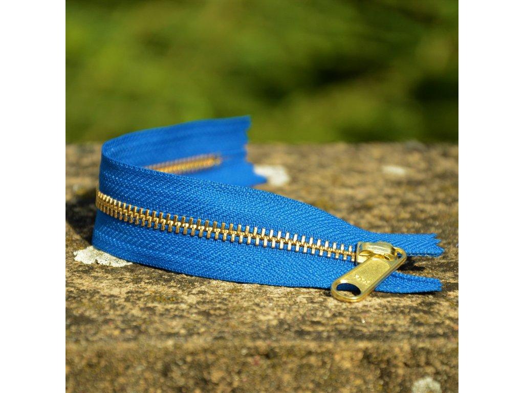 nedělitelný kovový zip YKK - 20 cm, tmavě modrý