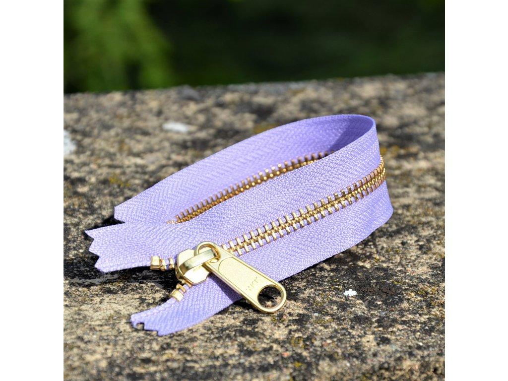 nedělitelný kovový zip YKK - 20 cm, fialový