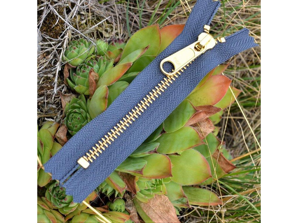 nedělitelný kovový zip YKK - 12 cm, tmavě šedý