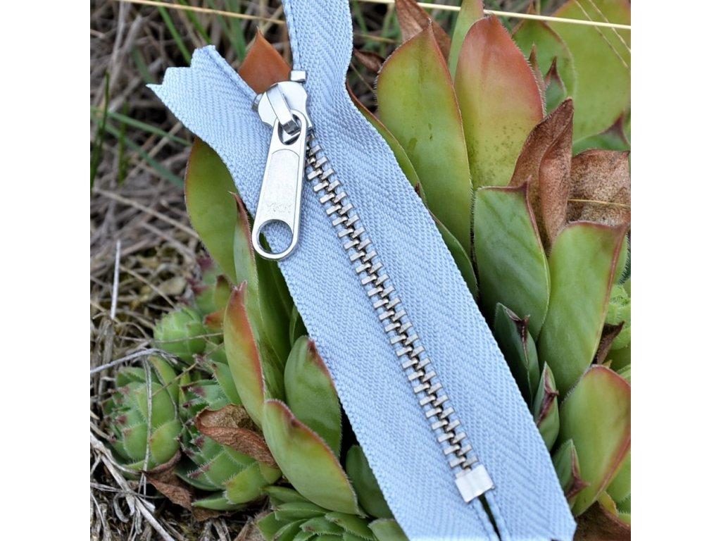 nedělitelný kovový zip YKK stříbrné zuby - 8 cm, šedý
