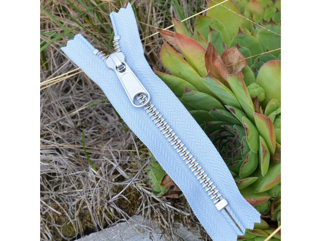 nedělitelný kovový zip YKK stříbrné zuby - 12 cm, šedý
