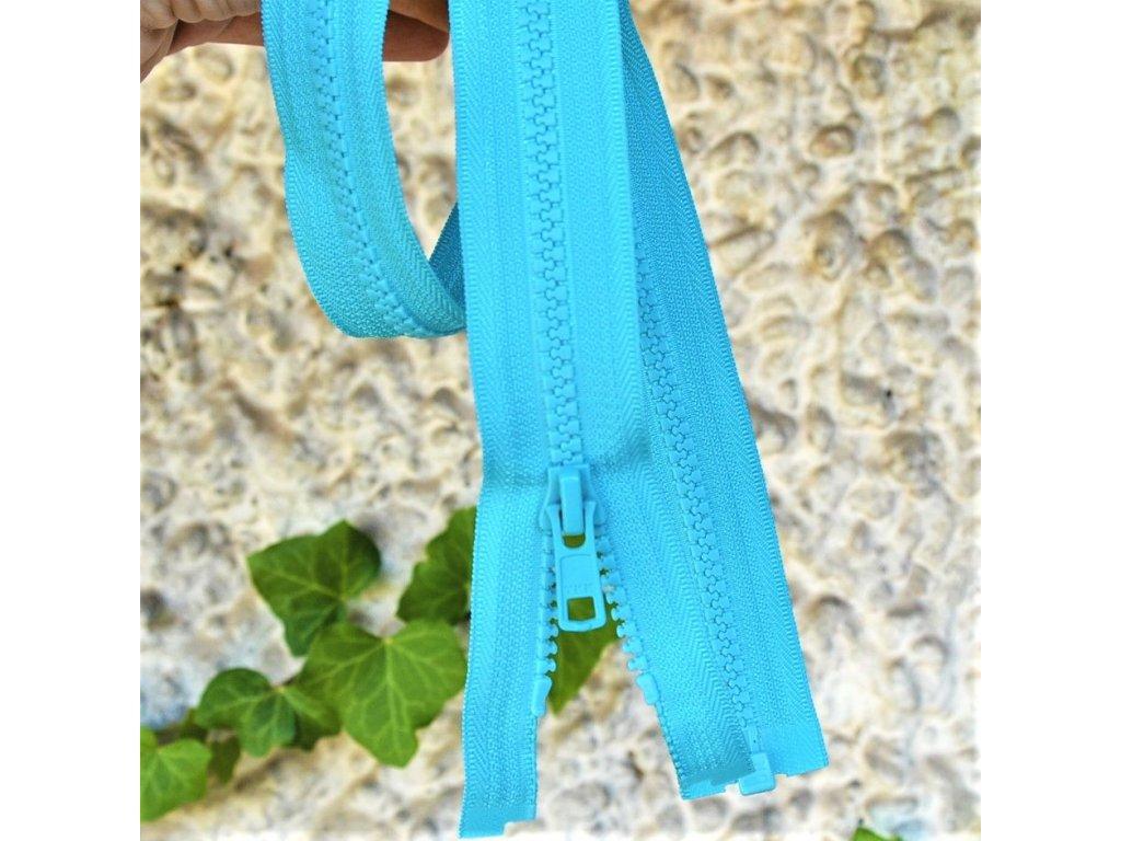 Dělitelný kostěný zip YKK - 70 cm, tyrkysový