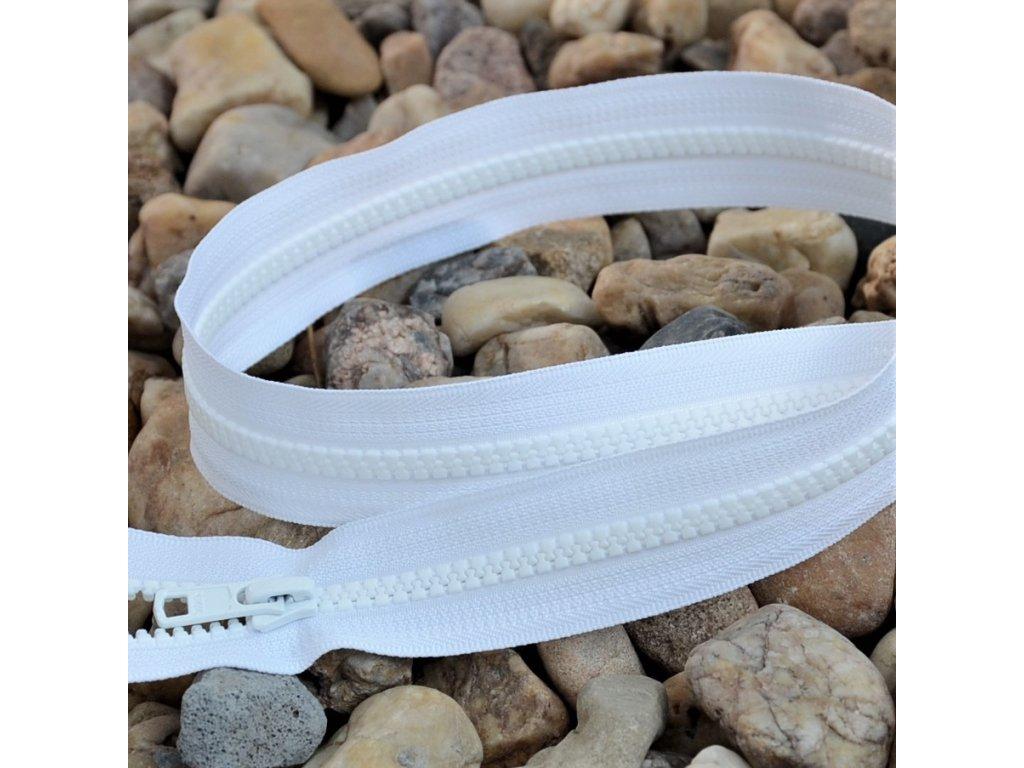 Dělitelný kostěný zip YKK - 80 cm, bílý