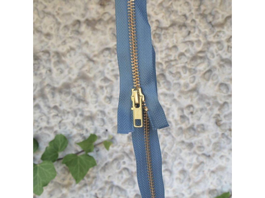 dělitelný kovový zip YKK - 70 cm, modrošedý