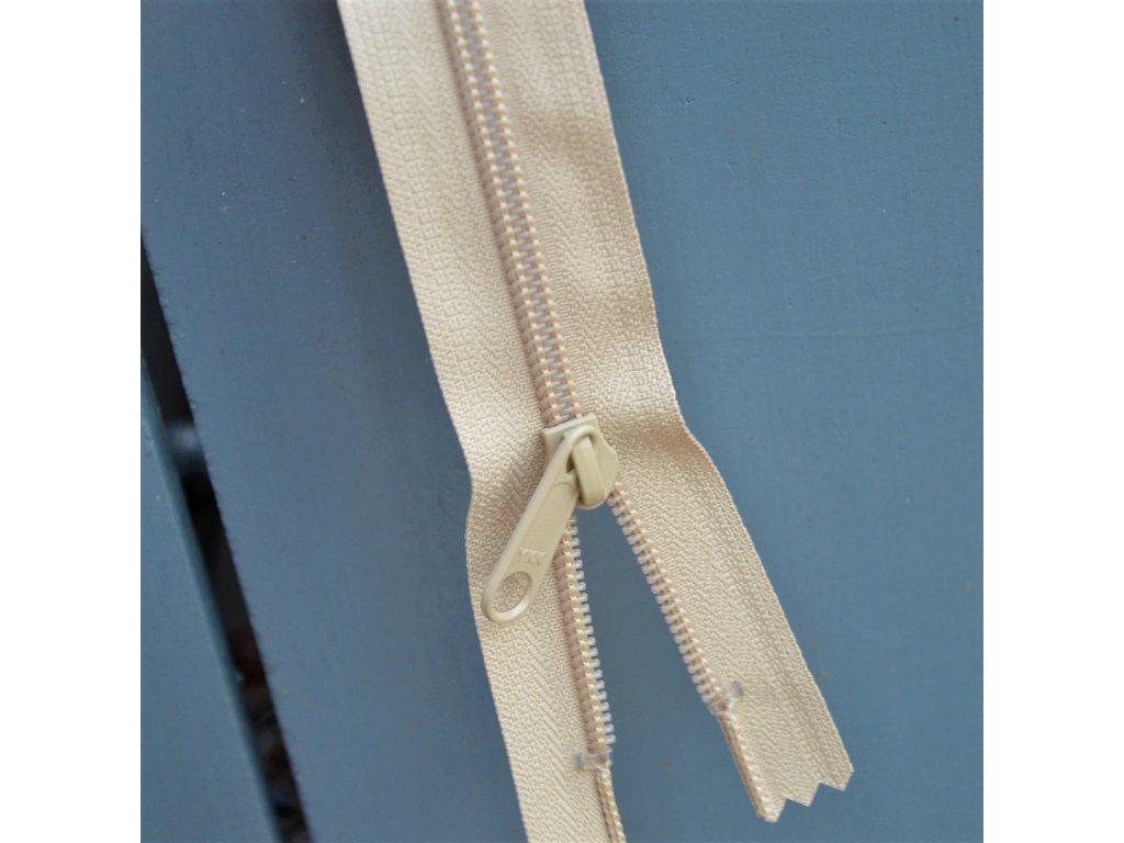 nedělitelný spirálový zip YKK bez aretace - 30 cm, béžový