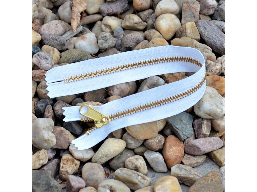 nedělitelný kovový zip YKK - 30 cm, bílý