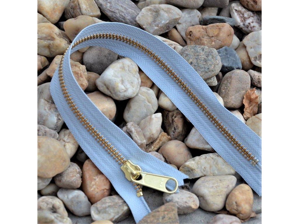 nedělitelný kovový zip YKK - 30 cm, světle šedý