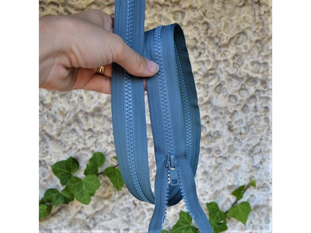 dělitelný kostěný zip YKK - 60 cm, modrošedý