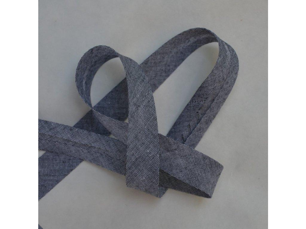 0,5 m šikmý proužek denim style černý 18 mm (bavlna/polyester)
