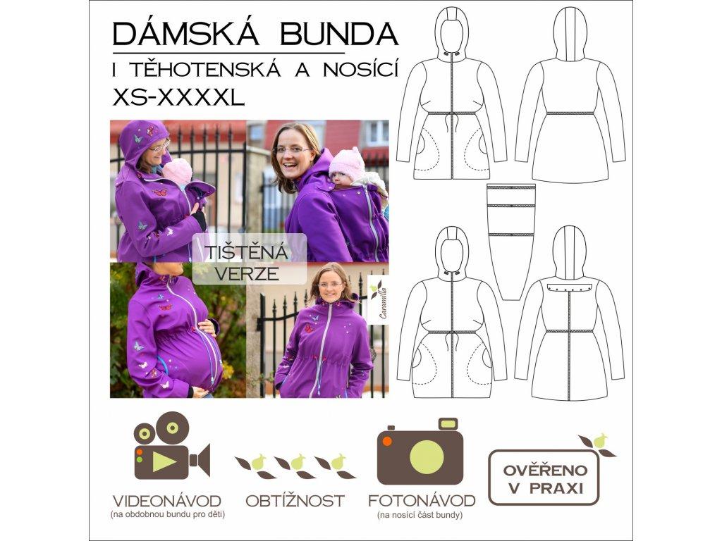 dámská bunda 3 v 1 (běžná, těhotenská, nosící) XS - XXXXL - tištěný střih Caramilla