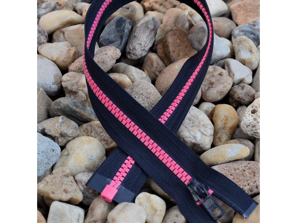 dělitelný kostěný zip YKK - 75 cm, tmavě šedá stuha, růžové zuby