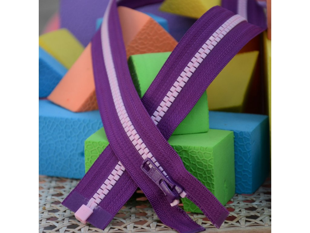 dělitelný kostěný zip YKK - 70 cm, fialová stuha, růžové zuby