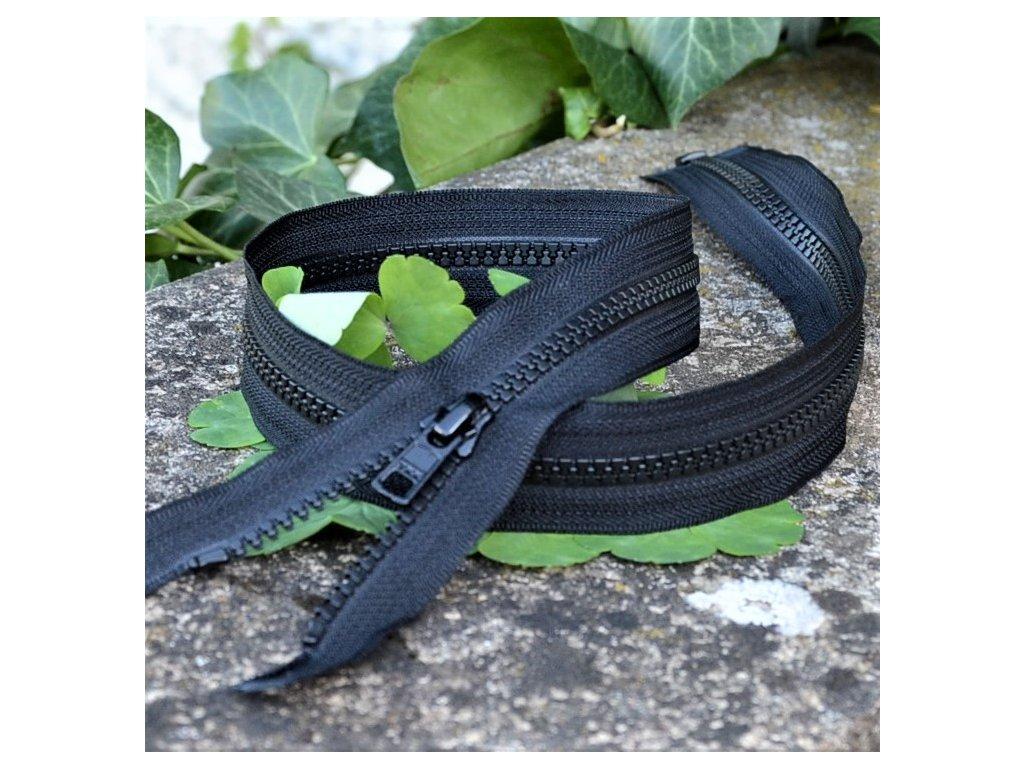 dělitelný kostěný zip YKK - 75 cm, černý