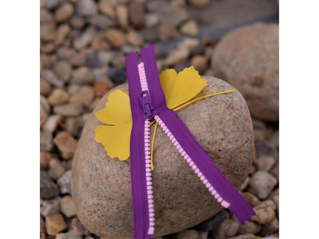 nedělitelný kostěný zip YKK - 20 cm, růžové zuby, fialová stuha