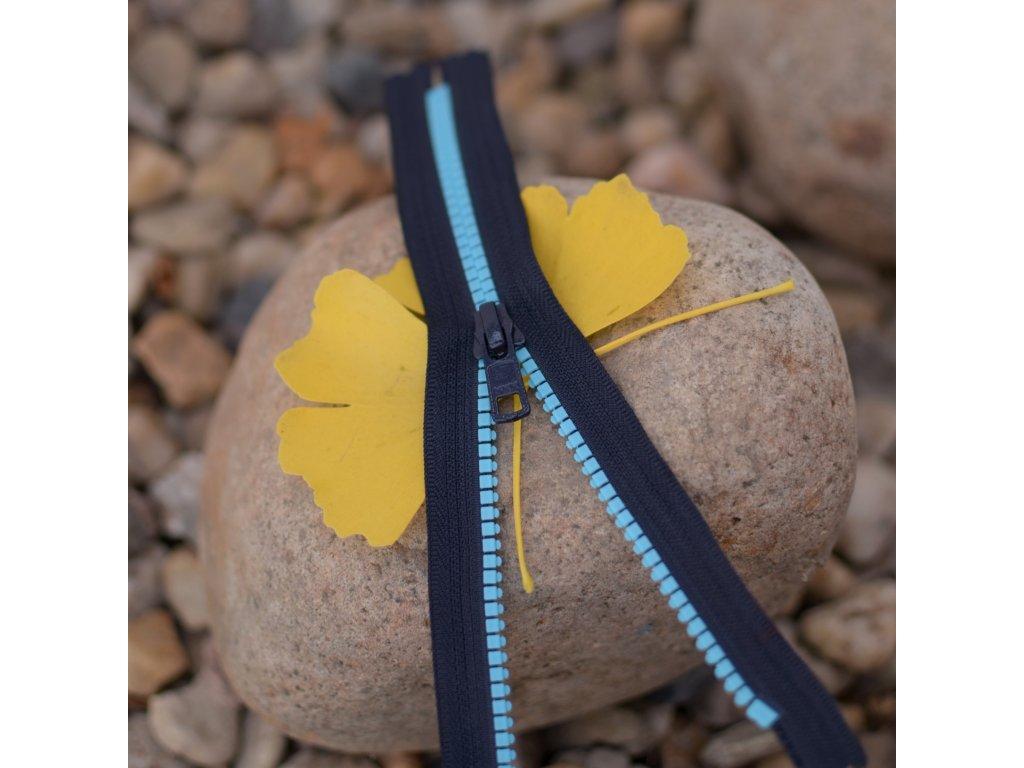 nedělitelný kostěný zip YKK - 20 cm, modré zuby, tmavě šedá stuha